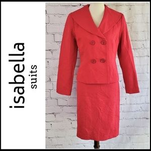 ISABELLA Red Damask Double Breasted Skirt Suit 10